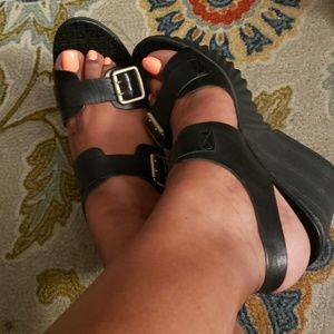 Rockport wedged black Sandals #Never Worn